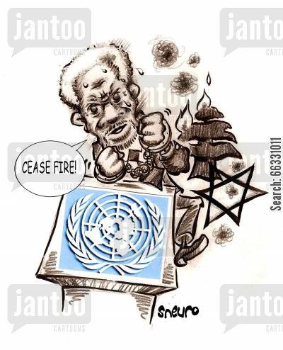 kofi annan cartoon humor: Cease fire!