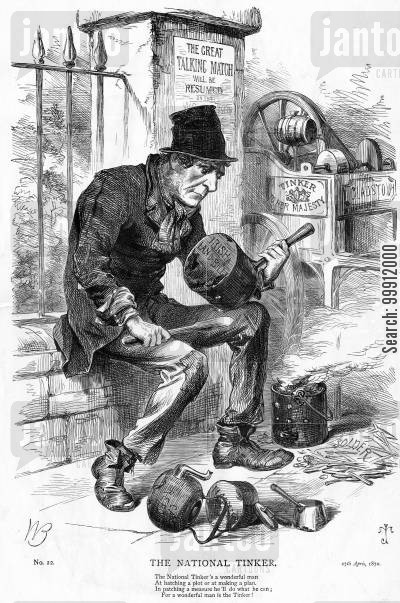irish reform cartoon humor: Gladstone the 'National Tinker'