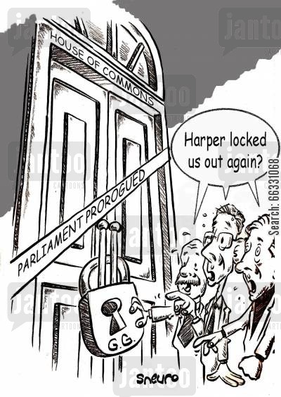parliament cartoon humor: Harper locked us out again? Canadian parliament prorogued.
