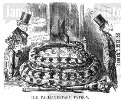 whig cartoon humor: The Parliamentary Python