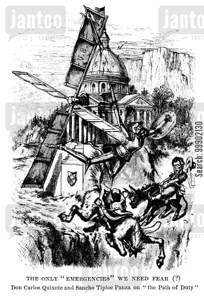 thomas tipton cartoon humor: Charles Shurtz as Don Quixote attacking the US Windmill