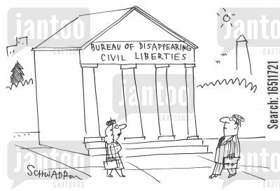 bureaus cartoon humor: Bureau of Disappearing Civil Liberties