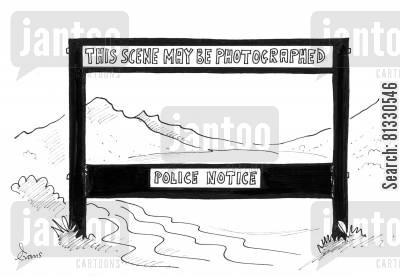 fascism cartoon humor: 'This scene may be photographed - police notice.'