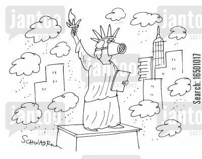 the statue cartoon humor: Statue of Liberty with Gas Mask