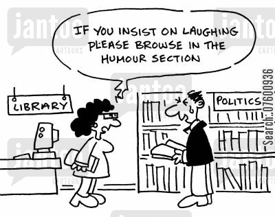 political books cartoon humor: 'If you insist on laughing please use the humour section.'