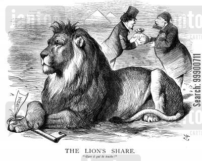 suez shares cartoon humor: 'The Lion's Share' of Suez Canal Gives Britain the Key to India