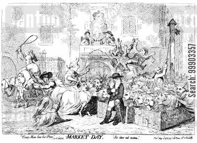 georgian england cartoon humor: 'Market Day'- House of Lords Members awaiting Patronage