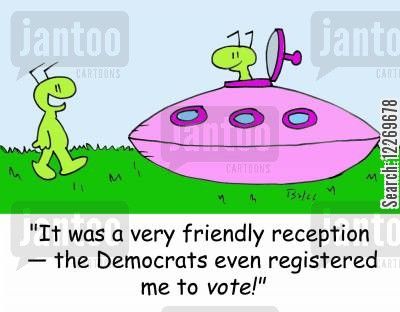 electoral registers cartoon humor: 'It was a very friendly reception - the Democrats even registered me to vote!'