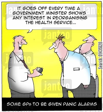 panic alarm cartoon humor: Some GPs to be given panic alarms