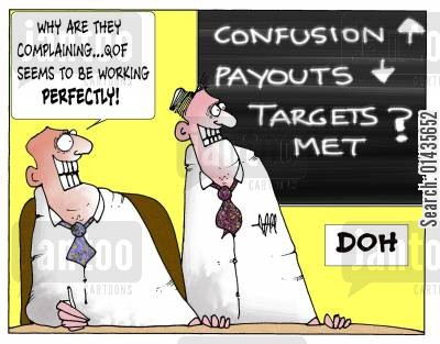 payouts cartoon humor: 'Why are they complaining...QOF seems to be working perfectly.'