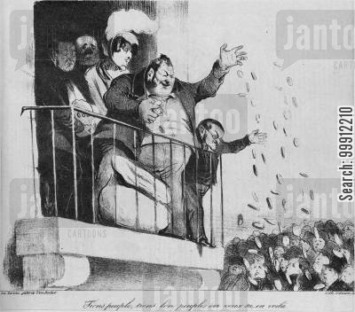 greedy cartoon humor: Louis-Philippe throwing money over a balcony at the French people