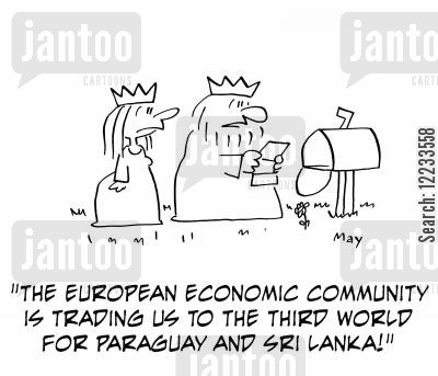 paraguay cartoon humor: 'The European Economic Community is trading us to the Third World for Paraguay and Sri Lanka!'