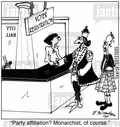 party affiliation cartoon humor:  'Party affiliation? Monarchist, of course.'