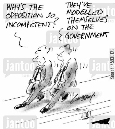 modelled cartoon humor: Why's the opposition so incompetent?