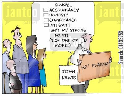 public money cartoon humor: 'Sorry, accountancy..honesty...competance...isn't my strong point!'