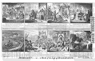 life of napoleon cartoon humor: 'Democracy; or a Sketch of the Life of Bonaparte'