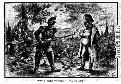 french second empire cartoon humor: Franco-Prussian War - Louis Napoleon as the Friend of Death