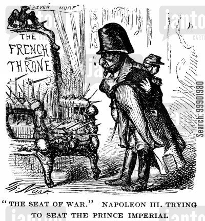 french second empire cartoon humor: ''The Seat of War' Napoleon III trying to seat the Prince Imperial