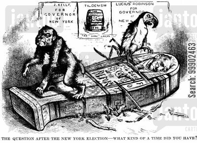 monkeys cartoon humor: New York Election of 1879- Rival Democrat Factions (Kelly and Robinson) Both Emerge Defeated