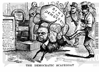 democrats cartoon humor: August Belmont: 'The Democratic Scapegoat' for 'Boss' Tweed'