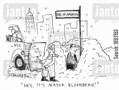 heavy snowfall cartoon humor: 'Hey, it's mayor Bloomberg!'
