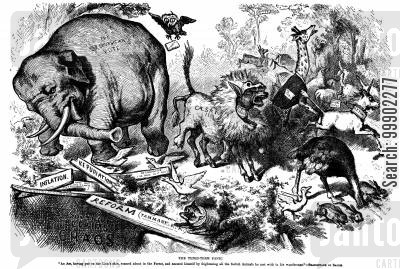 republican vote cartoon humor: First Appearance of the Republican Elephant- Caesarism Fears Drive the Party's Support Towards an Abyss
