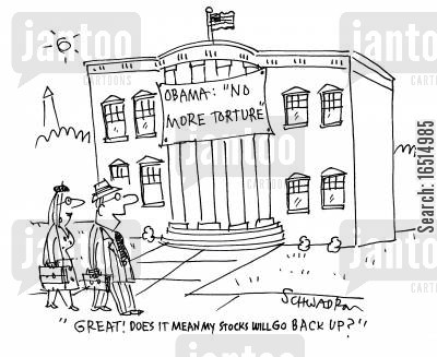 presidetn of america cartoon humor: 'Great! Does it mean my stocks will go back up?'