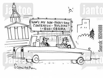 chauffeurs cartoon humor: 'How's my non-Partisan consensus building?'