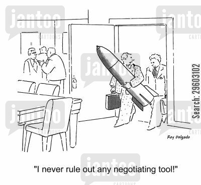 cold war cartoon humor: 'I never rule out any negotiating tool!'