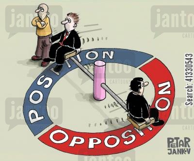 oppositions cartoon humor: Position - Opposition