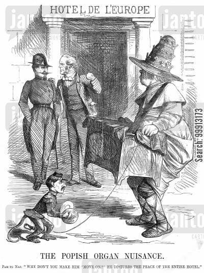 pope cartoon humor: Lord Palmerston asks Napoleon III why he does not move on the Popish organ grinder causing a disturbance outside the Hotel De L'Europe