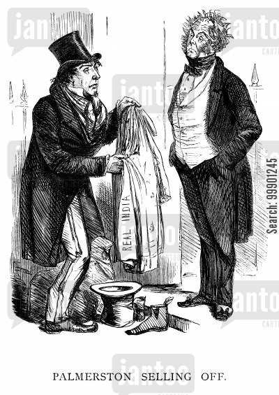 orientalism cartoon humor: Defeat of Palmerston's Government in 1858