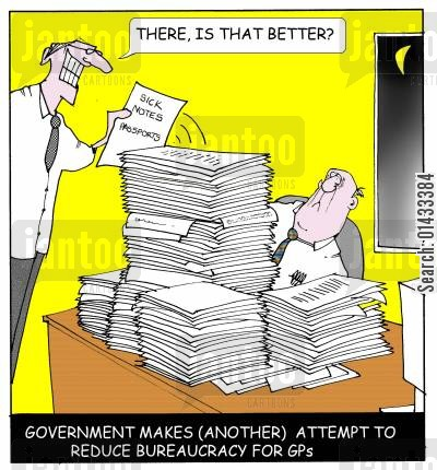 bureacracy cartoon humor: There, that should be better... Government makes (another) attempt to reduce bureaucracy for GPs.