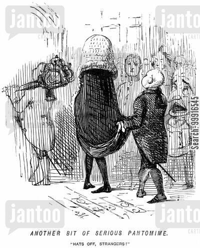 historic cartoon humor: Another bit of serious pantomime. - 'Hats off, strangers!'