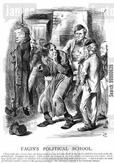 lord russell cartoon humor: 1867 Reform Act: 'Fagin's Political School'