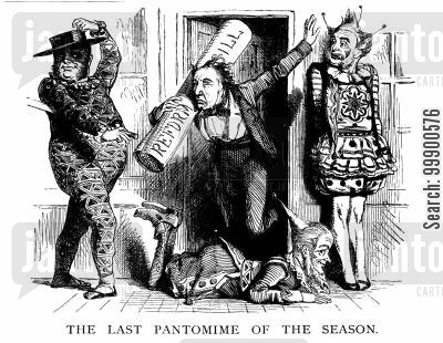 farce cartoon humor: Defeat of 1859 Reform Bill