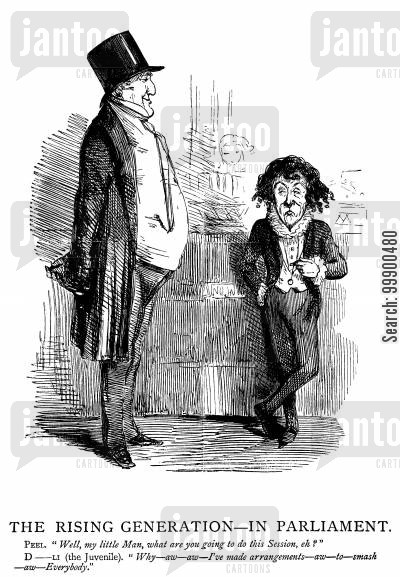 sir robert peel cartoon humor: Disraeli Helps Lord Bentinck Take Over from Peel