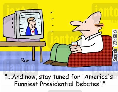 political debates cartoon humor: '...And now, stay tuned for 'America's Funniest Presidential Debates'!'