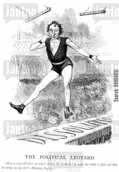 political leotard cartoon humor: Disraeli 'The Political Leotard'