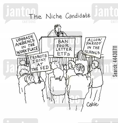 parody cartoon humor: Title: Political candidate focused on minor issues of interest to few