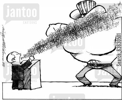 american politicians cartoon humor: Filibustering the opponent.