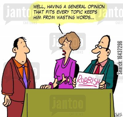 general opinions cartoon humor: 'Well, having a general opinion that fits every topic keeps him from wasting words...'