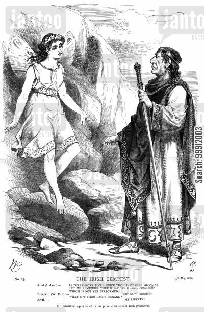 irish land bill cartoon humor: Ariel (Ireland) asking Prospero (Gladstone) for her freedom