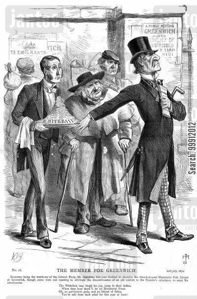 william gladstone cartoon humor: Gladstone forgoes the ministerial dinner, it is suggested because he doesn't want to meet his constituents