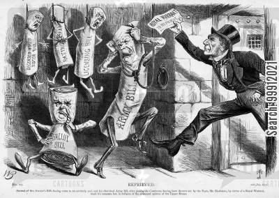 parliament cartoon humor: Gladstone reprieving the Army Bill