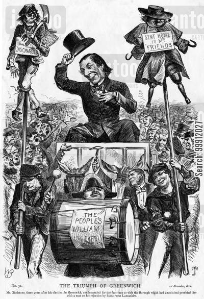 unpopular cartoon humor: Gladstone visiting his Greenwich constituency