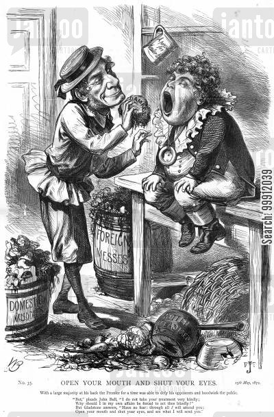 parliament cartoon humor: Gladstone feeding John Bull his bad policies