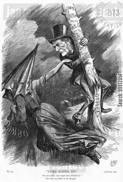 1872 cartoon humor: The year 1872 passing and taking Liberalism with it
