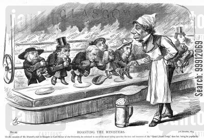campaign cartoon humor: Disraeli roasting the ministers