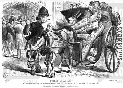radicalism cartoon humor: Disraeli stopping Gladstone passing radical bills